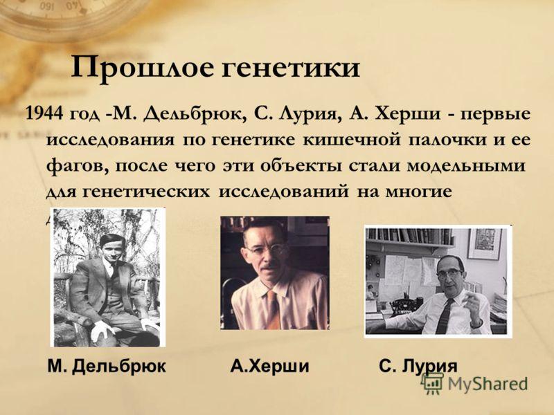 Прошлое генетики 1944 год -М. Дельбрюк, С. Лурия, А. Херши - первые исследования по генетике кишечной палочки и ее фагов, после чего эти объекты стали модельными для генетических исследований на многие десятилетия. М. ДельбрюкС. ЛурияА.Херши