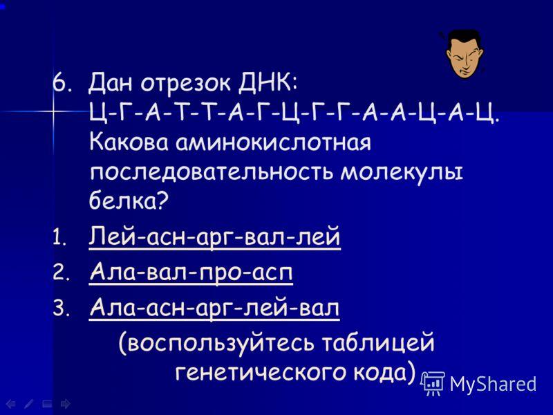 5. Какова последовательность нуклеотидов и-РНК, записанной на отрезке ДНК: Т-А-Ц-Г-Г-А-Т-Ц-А-Ц-Г-А 1. А-Т-Г-Ц-Ц-Т-А-Г-Т-Г-Ц-ТА-Т-Г-Ц-Ц-Т-А-Г-Т-Г-Ц-Т 2. А-У-Г-Ц-Г-У-А-Г-У-Г-Ц-УА-У-Г-Ц-Г-У-А-Г-У-Г-Ц-У 3. А-У-Г-Ц-Ц-У-А-Г-У-Г-Ц-УА-У-Г-Ц-Ц-У-А-Г-У-Г-Ц-У