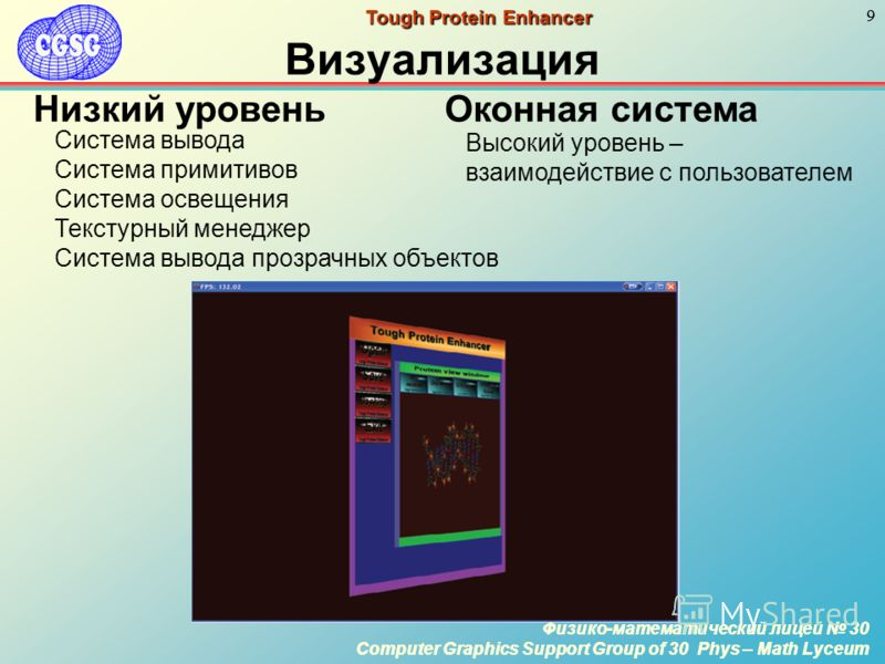 Физико-математический лицей 30 Computer Graphics Support Group of 30 Phys – Math Lyceum 9 Физико-математический лицей 30 Computer Graphics Support Group of 30 Phys – Math Lyceum 9 Tough Protein Enhancer Визуализация Система вывода Система примитивов