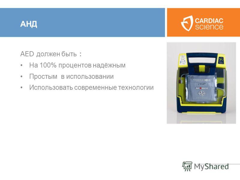 АНД AED должен быть : На 100% процентов надёжным Простым в использовании Использовать современные технологии