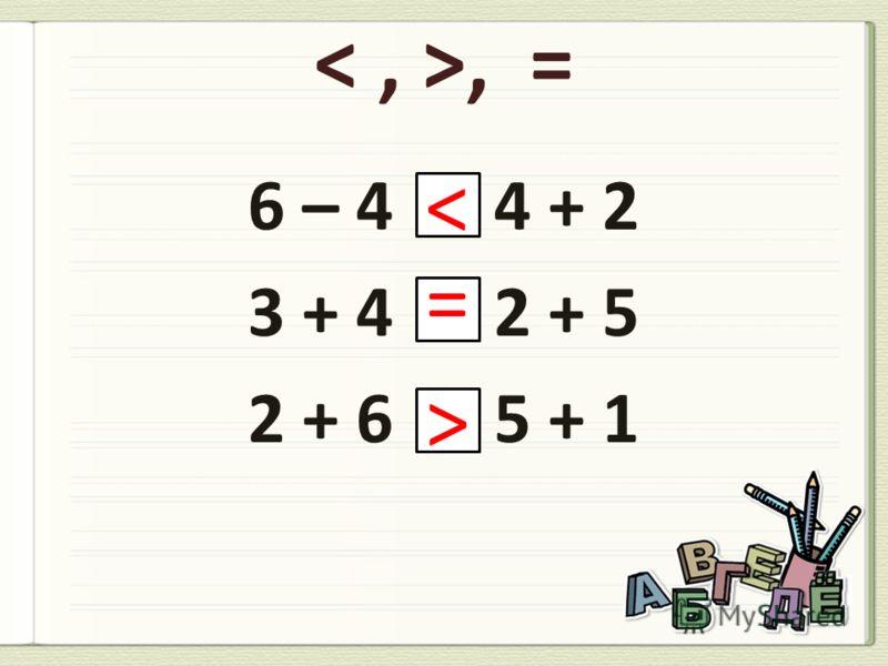 9 – 6 = + 7 – 3 = + 9 – 1 = + – = +