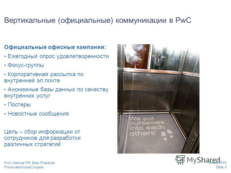 PricewaterhouseCoopers Июнь 2010 Slide 5 PwC Internal PR: Best Practices Вертикальные (официальные) коммуникации в PwC Официальные офисные кампании: Ежегодный опрос удовлетворенности Фокус-группы Корпоративная рассылка по внутренней эл.почте Анонимны
