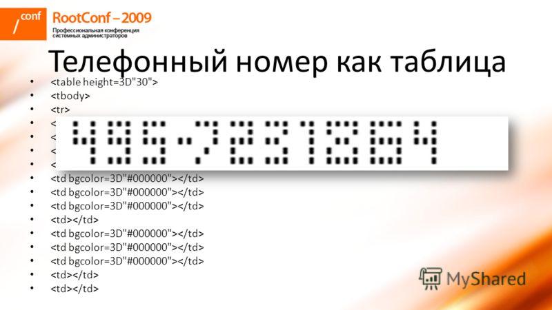 Телефонный номер как таблица
