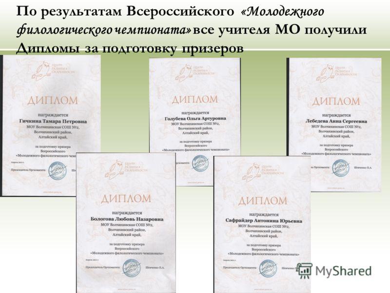 По результатам Всероссийского «Молодежного филологического чемпионата» все учителя МО получили Дипломы за подготовку призеров