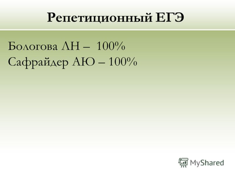 Репетиционный ЕГЭ Бологова ЛН – 100% Сафрайдер АЮ – 100%