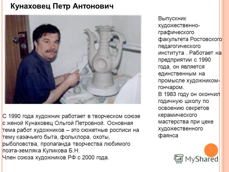 Кунаховец Петр Антонович Выпускник художественно- графического факультета Ростовского педагогического института. Работает на предприятии с 1990 года, он является единственным на промысле художником- гончаром. В 1983 году он окончил годичную школу по