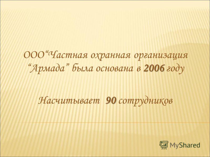 2006 ОООЧастная охранная организация Армада была основана в 2006 году 90 Насчитывает 90 сотрудников