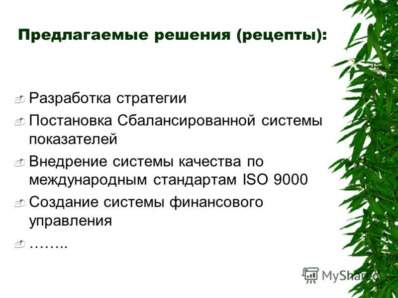 Предлагаемые решения (рецепты): Разработка стратегии Постановка Сбалансированной системы показателей Внедрение системы качества по международным стандартам ISO 9000 Создание системы финансового управления ……..