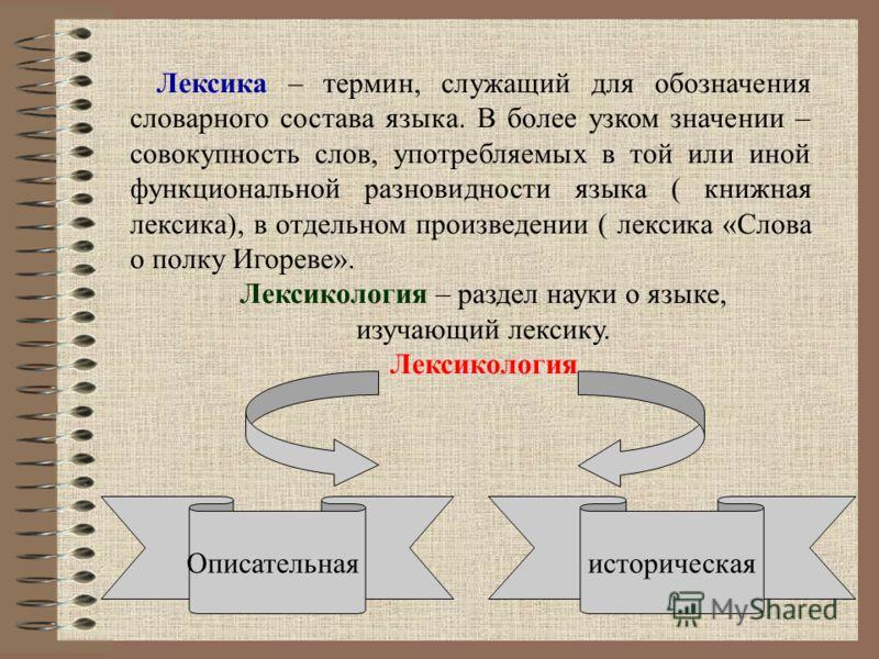 Словарная работа: Лексика, лексикология, лексикография, линвокультурология, словари.