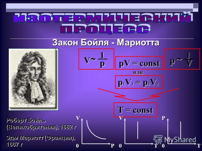 Закон Бойля - Мариотта T = const Роберт Бойль (Великобритания), 1662 г Эдм Мариотт (Франция), 1667 г pV = const V ~1р или р ~1V p 1 V 1 = p 2 V 2 VVP P0T0T0
