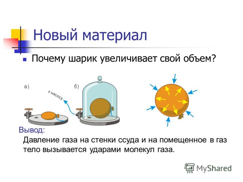Новый материал Почему шарик увеличивает свой объем? Вывод: Давление газа на стенки ссуда и на помещенное в газ тело вызывается ударами молекул газа.