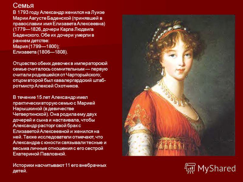 Семья В 1793 году Александр женился на Луизе Марии Августе Баденской (принявшей в православии имя Елизавета Алексеевна) (17791826, дочери Карла Людвига Баденского. Обе их дочери умерли в раннем детстве: Мария (17991800); Елизавета (18061808). Отцовст