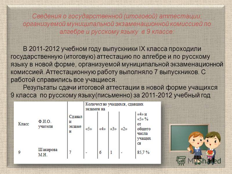 Сведения о государственной (итоговой) аттестации, организуемой муниципальной экзаменационной комиссией по алгебре и русскому языку в 9 классе: В 2011-2012 учебном году выпускники IX класса проходили государственную (итоговую) аттестацию по алгебре и