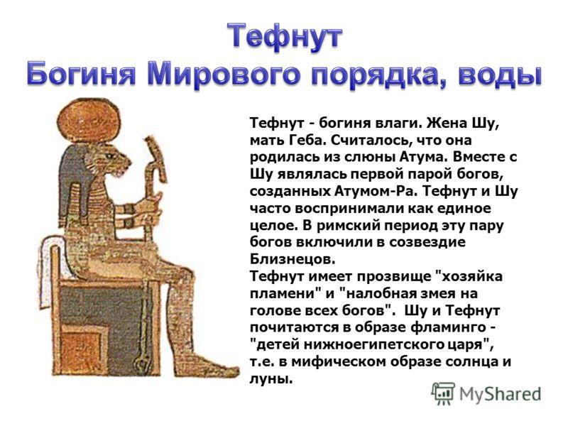 Тефнут - богиня влаги. Жена Шу, мать Геба. Считалось, что она родилась из слюны Атума. Вместе с Шу являлась первой парой богов, созданных Атумом-Ра. Т