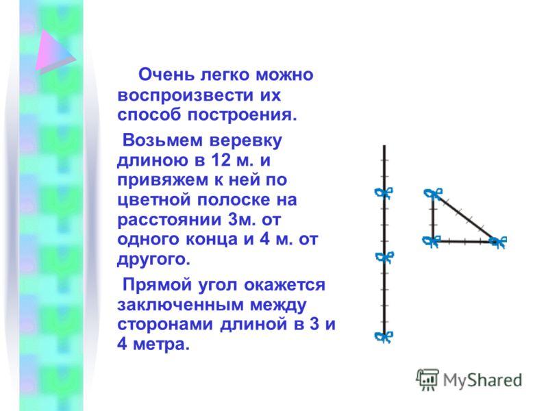 Очень легко можно воспроизвести их способ построения. Возьмем веревку длиною в 12 м. и привяжем к ней по цветной полоске на расстоянии 3м. от одного конца и 4 м. от другого. Прямой угол окажется заключенным между сторонами длиной в 3 и 4 метра.