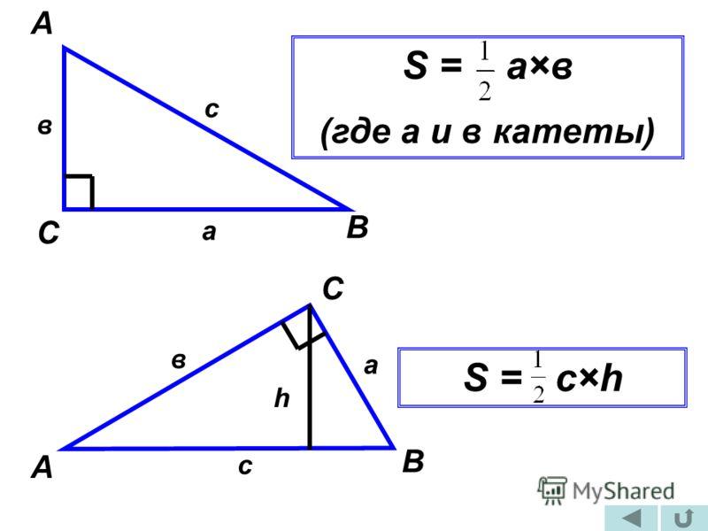 А В С в а с S = а×в (где а и в катеты) А С В а с в h S = c×h