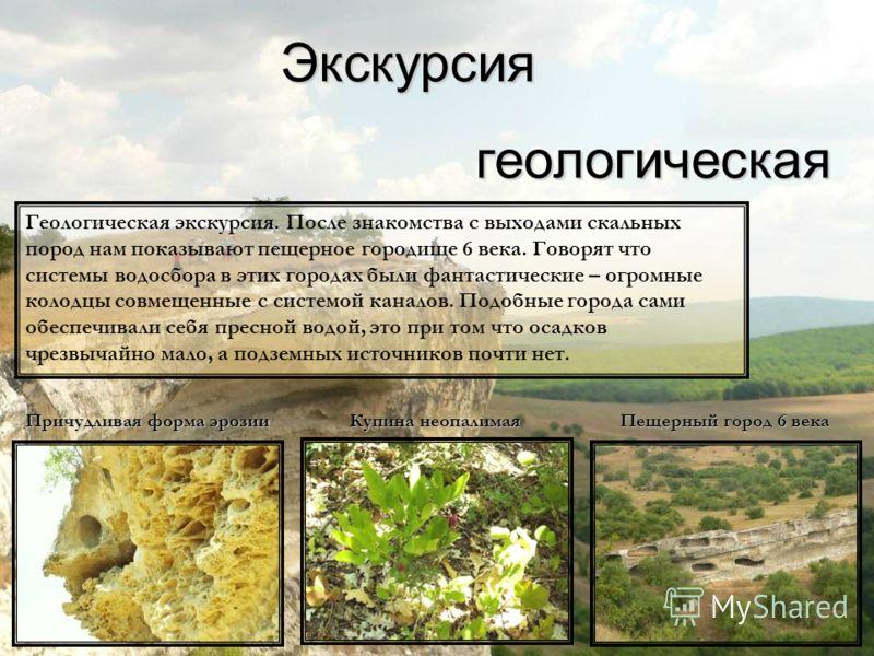 Экскурсиягеологическая Причудливая форма эрозии Купина неопалимая Пещерный город 6 века Геологическая экскурсия. После знакомства с выходами скальных пород нам показывают пещерное городище 6 века. Говорят что системы водосбора в этих городах были фан
