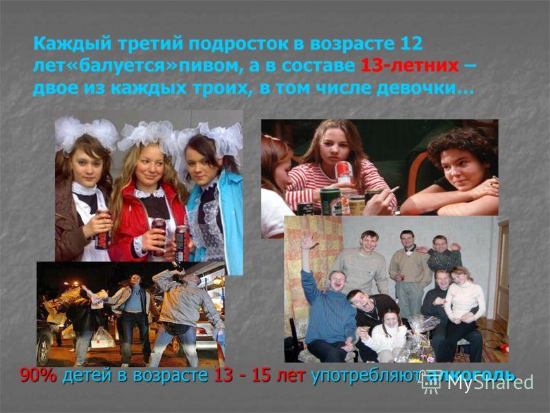 Каждый третий подросток в возрасте 12 лет«балуется»пивом, а в составе 13-летних – двое из каждых троих, в том числе девочки… 90% детей в возрасте 13 - 15 лет употребляют алкоголь
