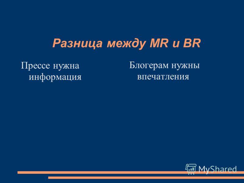 Разница между MR и BR Прессе нужна информация Блогерам нужны впечатления