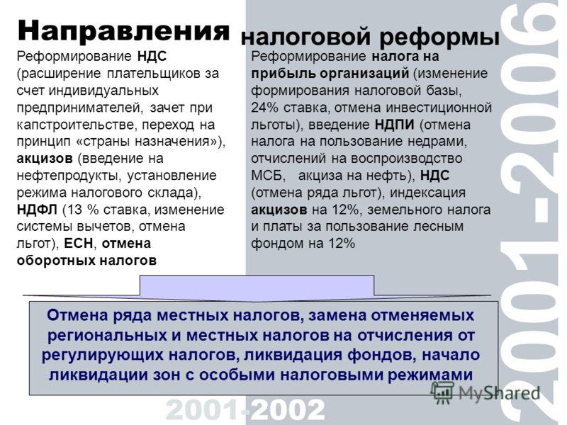 Реформирование НДС (расширение плательщиков за счет индивидуальных предпринимателей, зачет при капстроительстве, переход на принцип «страны назначения»), акцизов (введение на нефтепродукты, установление режима налогового склада), НДФЛ (13 % ставка, и