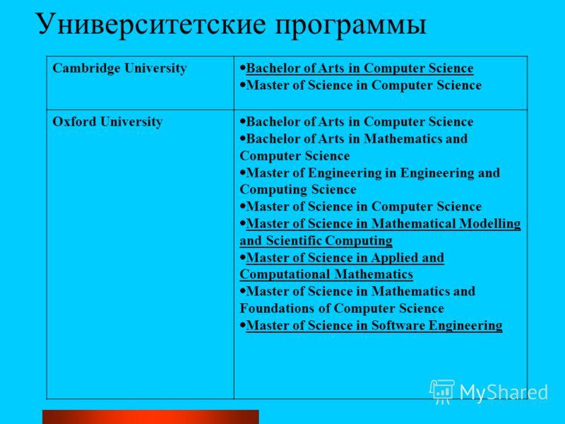 Университетские программы Cambridge University Bachelor of Arts in Computer Science Master of Science in Computer Science Oxford University Bachelor of Arts in Computer Science Bachelor of Arts in Mathematics and Computer Science Master of Engineerin