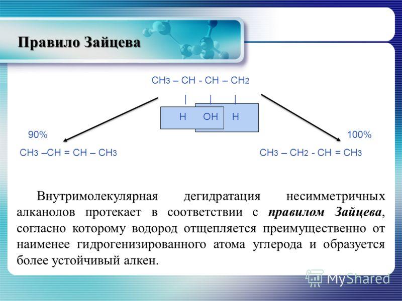 Правило Зайцева СН 3 – СН - СН – СН 2 | | | Н ОН Н 90% 100% СН 3 –СН = СН – СН 3 СН 3 – СН 2 - СН = СН 3 Внутримолекулярная дегидратация несимметричных алканолов протекает в соответствии с правилом Зайцева, согласно которому водород отщепляется преим