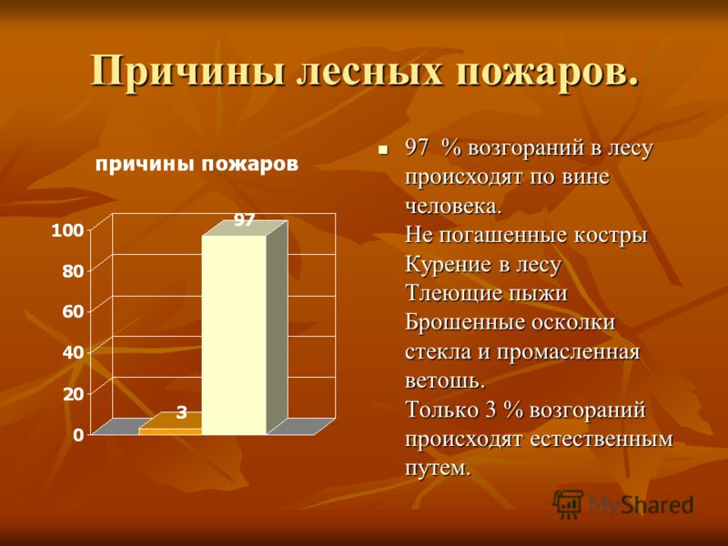Причины лесных пожаров. 97 % возгораний в лесу происходят по вине человека. Не погашенные костры Курение в лесу Тлеющие пыжи Брошенные осколки стекла и промасленная ветошь. Только 3 % возгораний происходят естественным путем. 97 % возгораний в лесу п