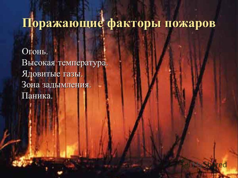 Поражающие факторы пожаров Огонь. Высокая температура. Ядовитые газы. Зона задымления. Паника. Огонь. Высокая температура. Ядовитые газы. Зона задымления. Паника.