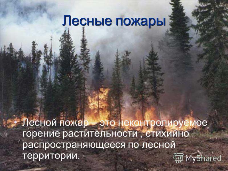 Лесные пожары Лесной пожар – это неконтролируемое горение растительности, стихийно распространяющееся по лесной территории.