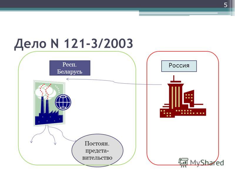 Дело N 121-3/2003 5 Постоян. предста- вительство Респ. Беларусь Россия