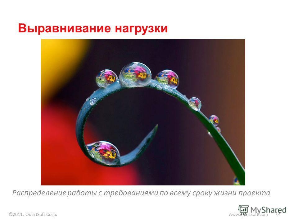 Выравнивание нагрузки Распределение работы с требованиями по всему сроку жизни проекта 12 ©2011. QuartSoft Corp. www.quartsoft.com
