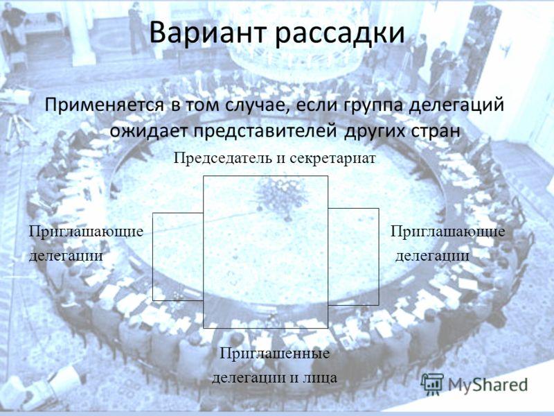 Вариант рассадки Применяется в том случае, если группа делегаций ожидает представителей других стран Председатель и секретариат Приглашающие делегации Приглашенные делегации и лица