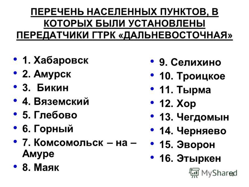 16 ПЕРЕЧЕНЬ НАСЕЛЕННЫХ ПУНКТОВ, В КОТОРЫХ БЫЛИ УСТАНОВЛЕНЫ ПЕРЕДАТЧИКИ ГТРК «ДАЛЬНЕВОСТОЧНАЯ» 1. Хабаровск 2. Амурск 3. Бикин 4. Вяземский 5. Глебово 6. Горный 7. Комсомольск – на – Амуре 8. Маяк 9. Селихино 10. Троицкое 11. Тырма 12. Хор 13. Чегдомы