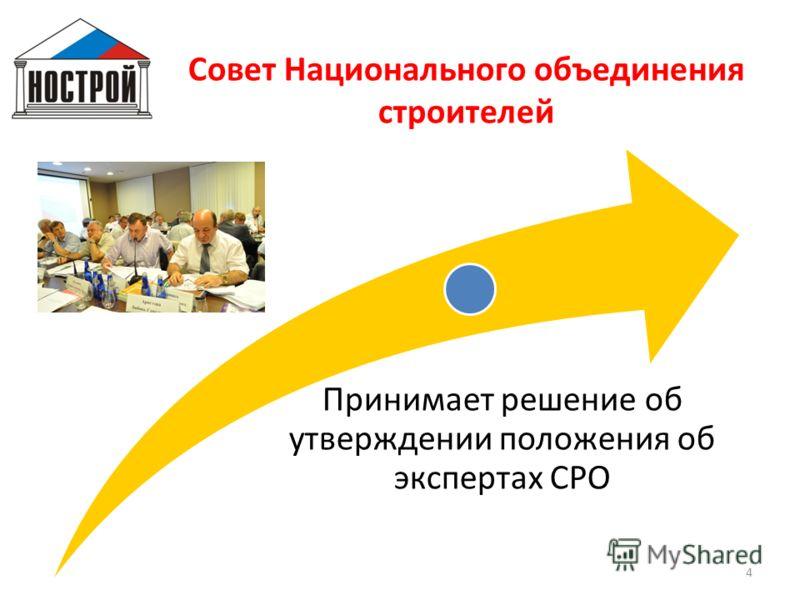 Совет Национального объединения строителей Принимает решение об утверждении положения об экспертах СРО 4