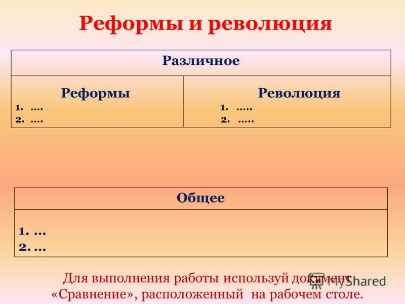 Реформы и революция Общее 1.… 2.… Различное Реформы Революция 1.…. 1. ….. 2.…. 2. ….. Для выполнения работы используй документ «Сравнение», расположенный на рабочем столе.