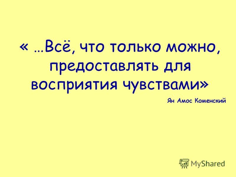 « …Всё, что только можно, предоставлять для восприятия чувствами» Ян Амос Коменский