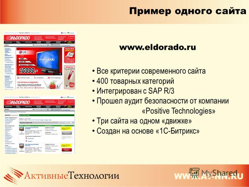 Пример одного сайта Все критерии современного сайта 400 товарных категорий Интегрирован с SAP R/3 Прошел аудит безопасности от компании «Positive Technologies» Три сайта на одном «движке» Создан на основе «1C-Битрикс» www.eldorado.ru