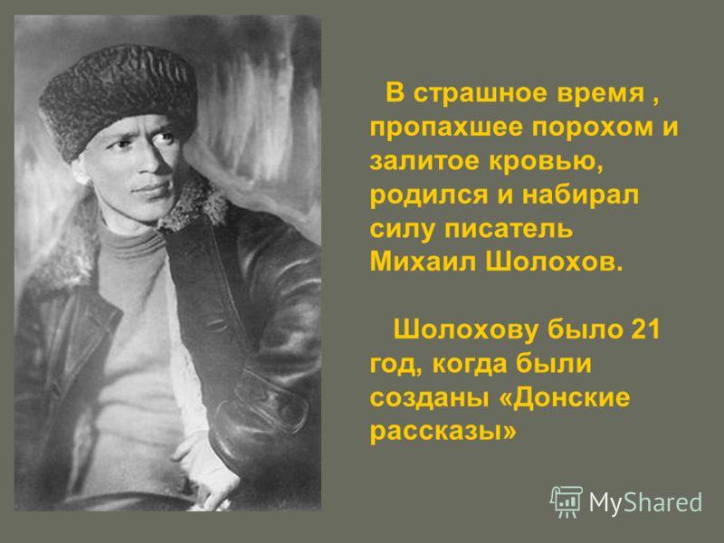 В страшное время, пропахшее порохом и залитое кровью, родился и набирал силу писатель Михаил Шолохов. Шолохову было 21 год, когда были созданы «Донские рассказы»