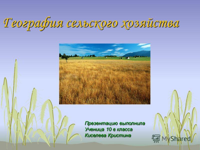 География сельского хозяйства Презентацию выполнила Ученица 10 в класса Киселева Кристина