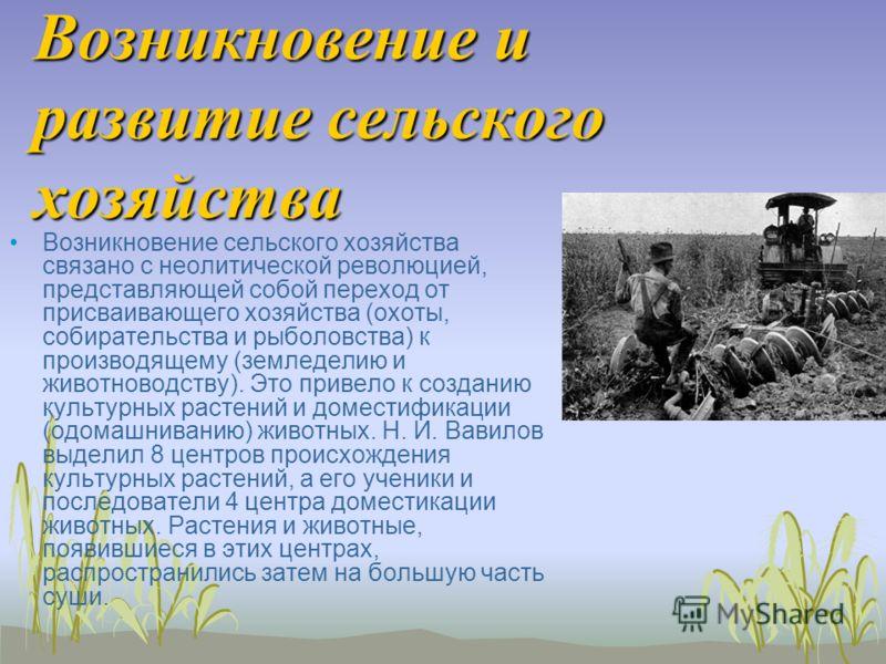 Возникновение и развитие сельского хозяйства Возникновение сельского хозяйства связано с неолитической революцией, представляющей собой переход от присваивающего хозяйства (охоты, собирательства и рыболовства) к производящему (земледелию и животновод