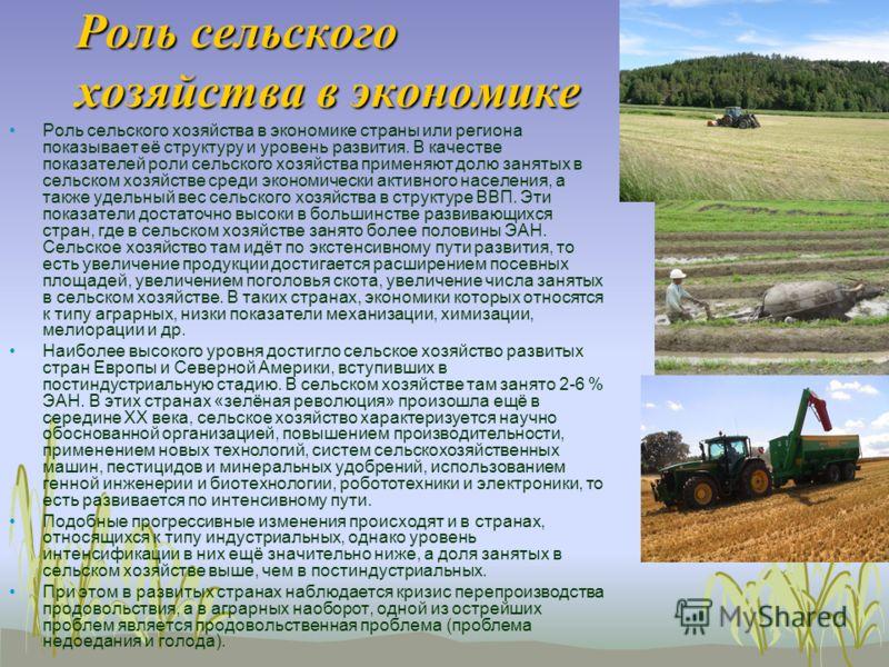 Роль сельского хозяйства в экономике Роль сельского хозяйства в экономике страны или региона показывает её структуру и уровень развития. В качестве показателей роли сельского хозяйства применяют долю занятых в сельском хозяйстве среди экономически ак