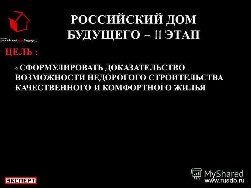 www.rusdb.ru РОССИЙСКИЙ ДОМ БУДУЩЕГО – II ЭТАП ЦЕЛЬ : СФОРМУЛИРОВАТЬ ДОКАЗАТЕЛЬСТВО ВОЗМОЖНОСТИ НЕДОРОГОГО СТРОИТЕЛЬСТВА КАЧЕСТВЕННОГО И КОМФОРТНОГО ЖИЛЬЯ