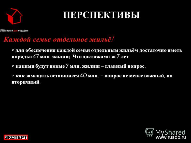 www.rusdb.ru ПЕРСПЕКТИВЫ Каждой семье отдельное жильё! для обеспечения каждой семьи отдельным жильём достаточно иметь порядка 47 млн. жилищ. Что достижимо за 7 лет. какими будут новые 7 млн. жилищ – главный вопрос. как замещать оставшиеся 40 млн. – в