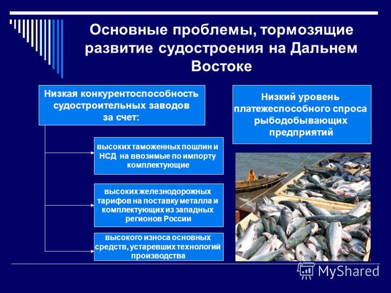 Основные проблемы, тормозящие развитие судостроения на Дальнем Востоке Низкая конкурентоспособность судостроительных заводов за счет: Низкий уровень платежеспособного спроса рыбодобывающих предприятий высоких таможенных пошлин и НСД на ввозимые по им