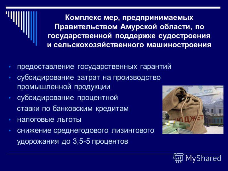 Комплекс мер, предпринимаемых Правительством Амурской области, по государственной поддержке судостроения и сельскохозяйственного машиностроения предоставление государственных гарантий субсидирование затрат на производство промышленной продукции субси