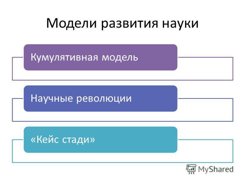 Модели развития науки Кумулятивная модельНаучные революции«Кейс стади»