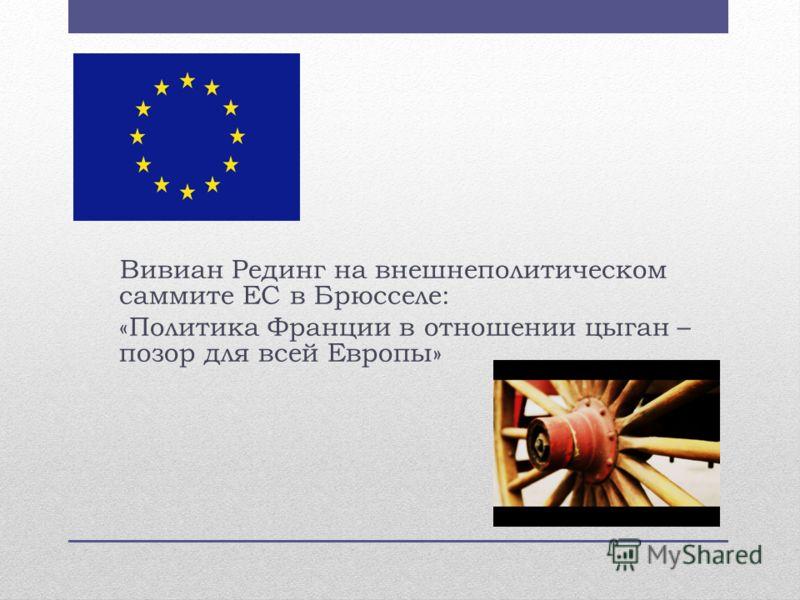 Вивиан Рединг на внешнеполитическом саммите ЕС в Брюсселе: «Политика Франции в отношении цыган – позор для всей Европы»