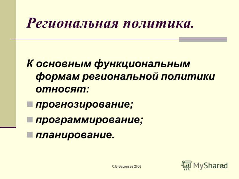 С.В.Васильев 200642 Региональная политика. К основным функциональным формам региональной политики относят: прогнозирование; программирование; планирование.