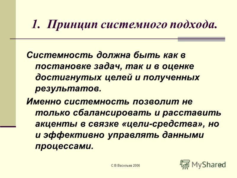 С.В.Васильев 200645 1. Принцип системного подхода. Системность должна быть как в постановке задач, так и в оценке достигнутых целей и полученных результатов. Именно системность позволит не только сбалансировать и расставить акценты в связке «цели-сре