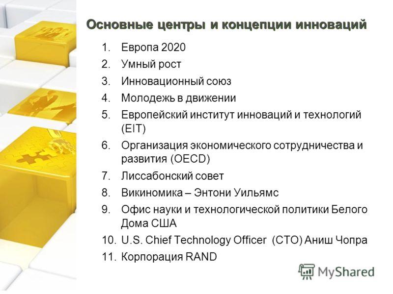 Основные центры и концепции инноваций 1.Европа 2020 2.Умный рост 3.Инновационный союз 4.Молодежь в движении 5.Европейский институт инноваций и технологий (EIT) 6.Организация экономического сотрудничества и развития (OECD) 7.Лиссабонский совет 8.Викин